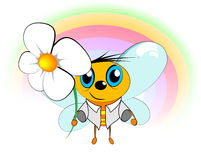 Bee and flower. The bee holds in a hand a flower for you. The rainbow is visible. It is your gift royalty free illustration