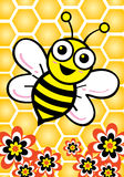 Bee. And flower illustration style Stock Images