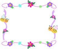 Bee Flower and Ribbon Frame Stock Photography
