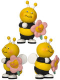 Bee with flower - small toy. Three view angles. White background Stock Photos