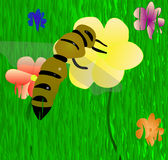 Bee On The Flower. Vector EPS 10. Stock Images