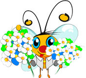 Bee and flowers. The bee holds in a hand a flowers for you. The rainbow is visible. It is your gift stock illustration