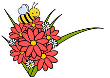 Bee and flowers. Illustration isolated Stock Photography