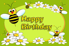 Bee and flowers - Birthday card royalty free stock photo
