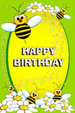 Bee and flowers - Birthday card Stock Photography