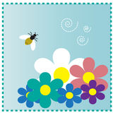 Bee and flowers Royalty Free Stock Image