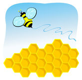 Bee while flying above the comb. Vector illustration depicting a bee while flying above the comb Royalty Free Stock Photo