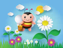 Free Bee Flying Around With A Brimful Jar Of Delicious Honey Stock Images - 54494134