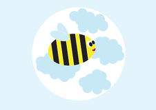 The bee flying in clouds Stock Image