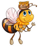 A bee flying with a pot of honey Stock Photo