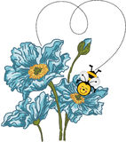 Bee forming a heart with your flight on blue flower Stock Photo
