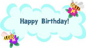 Bee Frame of Happy Birthday Message Stock Images