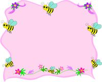 Bee Frame with Pink Background Royalty Free Stock Photo