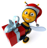 Bee and gift Royalty Free Stock Image