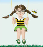 Bee and girl Royalty Free Stock Photography