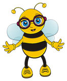 Bee in glasses. Funny bee in pink round glasses stand and watch Stock Photos