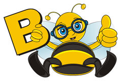 Bee in glasses hold a sing B. Smiling bee in blue glasses show gesture cool and hold a letter B Royalty Free Stock Photography