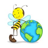 Bee with a globe. Editable vector of bee standing with globe stock illustration