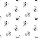 Bee hand drawn seamless pattern, monochrome background vector illustration royalty free illustration