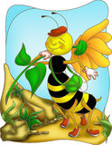 Bee happy. Color illustration of a 'bee happy for a walk Royalty Free Stock Images
