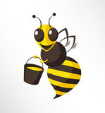 Bee. A happy bee is holding a bucket of honey Royalty Free Stock Photos