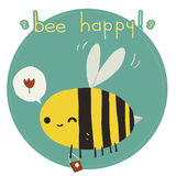 Bee happy postcard. The vector greeting card with funny bee Royalty Free Stock Image