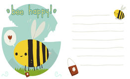 Bee happy postcard. The vector greeting card with funny bee, background and lines for text. For game presentation, user interface tablet, smart phone Royalty Free Stock Image