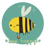 Bee happy postcard. The vector greeting card with funny bee mascot icon. For ui, web games, tablets, wallpapers, and patterns Stock Photos