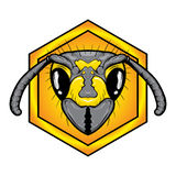 Bee head logo. Bee face. Wasp. Bee head in honeycomb Royalty Free Stock Photography