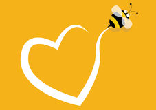Blank frame and bee. Bee and heart, Yellow background Stock Images