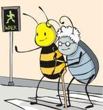 Bee Helpful. A bee helping an old beetle walk across a street vector illustration