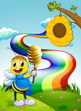A bee at the hilltop with a rainbow in the sky Stock Images