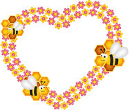 Bee and his honey flower heart frame Royalty Free Stock Images