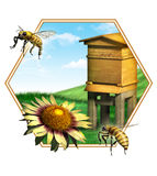 Bee hive. Nice composition of some bees, a flower and an hive. Suitable for food labels. Digital illustration royalty free illustration