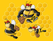 Bee hive. Cartoon bees in front of a honeycomb. Bee hive stock illustration