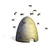 Bee Hive with Bees. 3D render of a bee hive surrounded by bees royalty free illustration