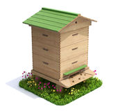 Bee hive. With the grass and flowers on white background - 3D illustration stock illustration