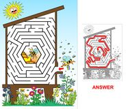Bee hive - labyrinth for kids (easy). Royalty Free Stock Photo
