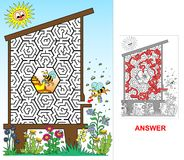 Bee hive - labyrinth for kids (hard). Royalty Free Stock Photo