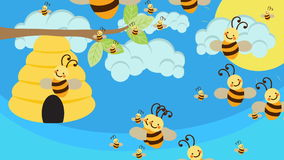 Bee Hive and a lot of Bees Flying on a Beautiful Day. Bee Hive and a lot of Bees Flying on a Beautiful Sunny Day vector illustration