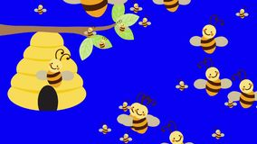 Bee Hive and a lot of Bees Flying on a Blue Screen Background stock illustration