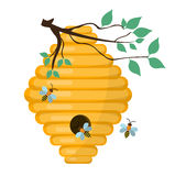 Bee-hive, swarm icon, flat style. Isolated on white background. Vector illustration, clip-art. Bee-hive, swarm icon, flat style. Isolated on white background royalty free illustration