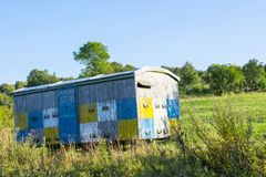 Bee hive in the trailer. An old wooden trailer in the field is a home for bees royalty free stock images