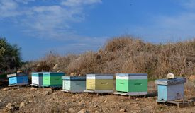 Bee hives. And blue sky Royalty Free Stock Image