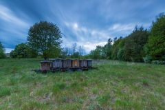 Bee hives on trail in rural landscape Stock Photos