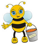 Bee hold a full bucket of honey. Smiling bee stand and hold in his paws a complete bucket of honey Stock Photo