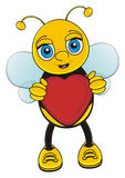 Bee hold a heart. Happy bee stand and hold in her paws a red heart Stock Photo