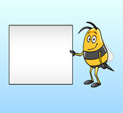 Bee holding a blank board Stock Images
