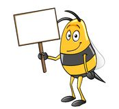 Bee holding a blank sign Royalty Free Stock Photos
