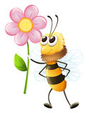 A bee holding a flower Stock Photo